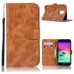 Luxury Retro Leather Wallet Case for LG Stylus 3 Stylo3 K10 Pro LS777 M400DK - Golden