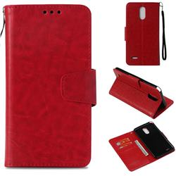 Retro Phantom Smooth PU Leather Wallet Holster Case for LG Stylus 3 Stylo3 K10 Pro LS777 M400DK - Red