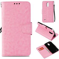 Retro Phantom Smooth PU Leather Wallet Holster Case for LG Stylus 3 Stylo3 K10 Pro LS777 M400DK - Pink