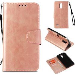 Retro Phantom Smooth PU Leather Wallet Holster Case for LG Stylus 3 Stylo3 K10 Pro LS777 M400DK - Rose Gold