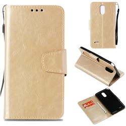 Retro Phantom Smooth PU Leather Wallet Holster Case for LG Stylus 3 Stylo3 K10 Pro LS777 M400DK - Champagne