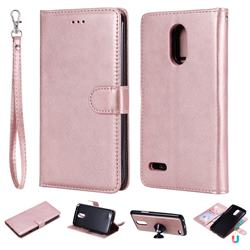 Retro Greek Detachable Magnetic PU Leather Wallet Phone Case for LG Stylus 3 Stylo3 K10 Pro LS777 M400DK - Rose Gold