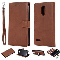Retro Greek Detachable Magnetic PU Leather Wallet Phone Case for LG Stylus 3 Stylo3 K10 Pro LS777 M400DK - Brown