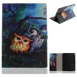 Oil Painting Owl Painting Tablet Leather Wallet Flip Cover for Lenovo Tab4 10 (Lenovo TB-X304F/L)