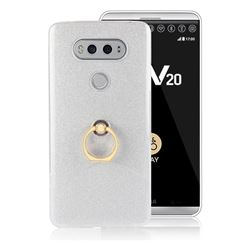 Luxury Soft TPU Glitter Back Ring Cover with 360 Rotate Finger Holder Buckle for LG V20 - White