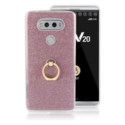 Luxury Soft TPU Glitter Back Ring Cover with 360 Rotate Finger Holder Buckle for LG V20 - Pink
