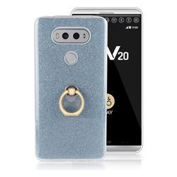 Luxury Soft TPU Glitter Back Ring Cover with 360 Rotate Finger Holder Buckle for LG V20 - Blue