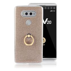 Luxury Soft TPU Glitter Back Ring Cover with 360 Rotate Finger Holder Buckle for LG V20 - Golden