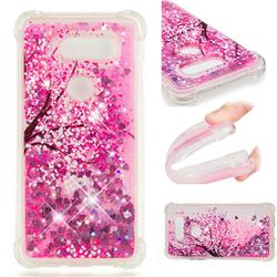 Pink Cherry Blossom Dynamic Liquid Glitter Sand Quicksand Star TPU Case for LG V20