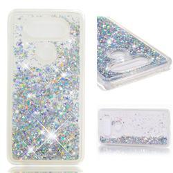 Dynamic Liquid Glitter Quicksand Sequins TPU Phone Case for LG V20 - Silver