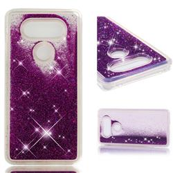 Dynamic Liquid Glitter Quicksand Sequins TPU Phone Case for LG V20 - Purple