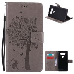Embossing Butterfly Tree Leather Wallet Case for LG V20 - Grey