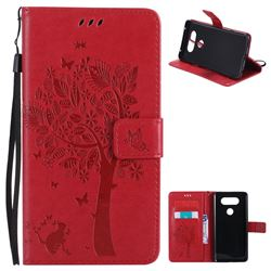Embossing Butterfly Tree Leather Wallet Case for LG V20 - Red
