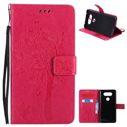 Embossing Butterfly Tree Leather Wallet Case for LG V20 - Rose