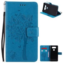 Embossing Butterfly Tree Leather Wallet Case for LG V20 - Blue