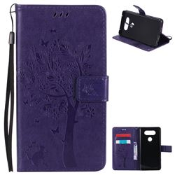 Embossing Butterfly Tree Leather Wallet Case for LG V20 - Purple