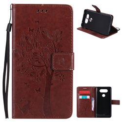 Embossing Butterfly Tree Leather Wallet Case for LG V20 - Brown