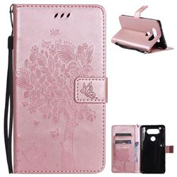 Embossing Butterfly Tree Leather Wallet Case for LG V20 - Rose Pink