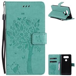 Embossing Butterfly Tree Leather Wallet Case for LG V20 - Cyan
