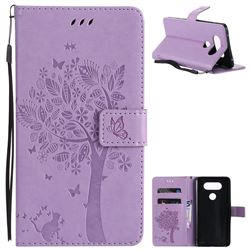 Embossing Butterfly Tree Leather Wallet Case for LG V20 - Violet