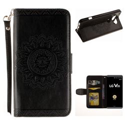 Embossed Datura Flower PU Leather Wallet Case for LG V20 - Black