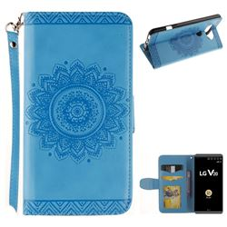 Embossed Datura Flower PU Leather Wallet Case for LG V20 - Blue