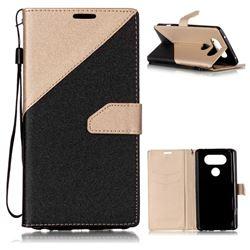 Dual Color Gold-Sand Leather Wallet Case for LG V20 (Black / Champagne )