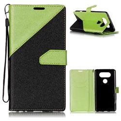 Dual Color Gold-Sand Leather Wallet Case for LG V20 (Black / Green )