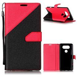 Dual Color Gold-Sand Leather Wallet Case for LG V20 (Black / Rose )