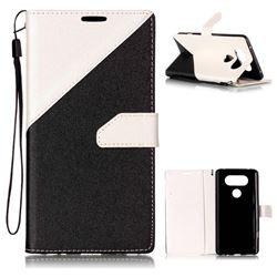 Dual Color Gold-Sand Leather Wallet Case for LG V20 (Black / White )