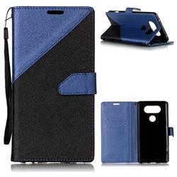 Dual Color Gold-Sand Leather Wallet Case for LG V20 (Black / Sapphire )