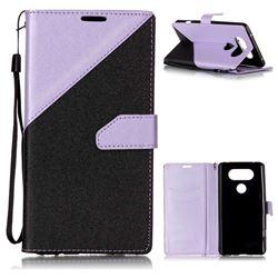 Dual Color Gold-Sand Leather Wallet Case for LG V20 (Black / Violet )