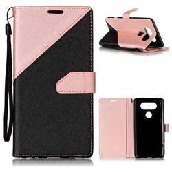 Dual Color Gold-Sand Leather Wallet Case for LG V20 (Black / Rose Gold )