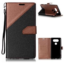Dual Color Gold-Sand Leather Wallet Case for LG V20 (Black / Brown )