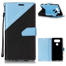 Dual Color Gold-Sand Leather Wallet Case for LG V20 (Black / Blue )
