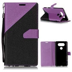 Dual Color Gold-Sand Leather Wallet Case for LG V20 (Black / Purple )