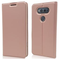Ultra Slim Card Magnetic Automatic Suction Leather Wallet Case for LG V20 - Rose Gold