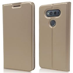 Ultra Slim Card Magnetic Automatic Suction Leather Wallet Case for LG V20 - Champagne