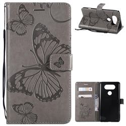 Embossing 3D Butterfly Leather Wallet Case for LG V20 - Gray