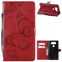 Embossing 3D Butterfly Leather Wallet Case for LG V20 - Red