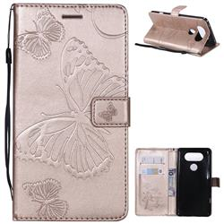 Embossing 3D Butterfly Leather Wallet Case for LG V20 - Rose Gold