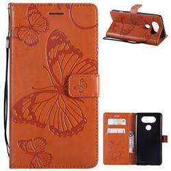 Embossing 3D Butterfly Leather Wallet Case for LG V20 - Orange