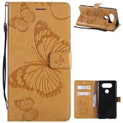 Embossing 3D Butterfly Leather Wallet Case for LG V20 - Yellow