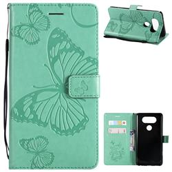 Embossing 3D Butterfly Leather Wallet Case for LG V20 - Green