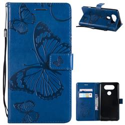 Embossing 3D Butterfly Leather Wallet Case for LG V20 - Blue
