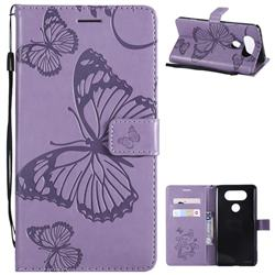 Embossing 3D Butterfly Leather Wallet Case for LG V20 - Purple