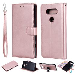 Retro Greek Detachable Magnetic PU Leather Wallet Phone Case for LG V20 - Rose Gold