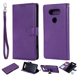 Retro Greek Detachable Magnetic PU Leather Wallet Phone Case for LG V20 - Purple
