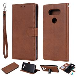 Retro Greek Detachable Magnetic PU Leather Wallet Phone Case for LG V20 - Brown