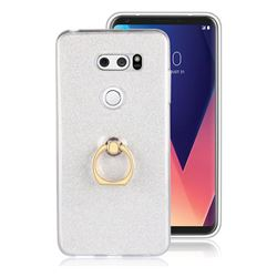 Luxury Soft TPU Glitter Back Ring Cover with 360 Rotate Finger Holder Buckle for LG V30 - White